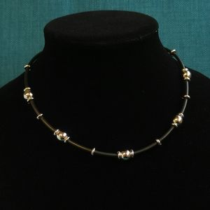 E. Pearl 925 Bead and Black Rubber Choker Necklace